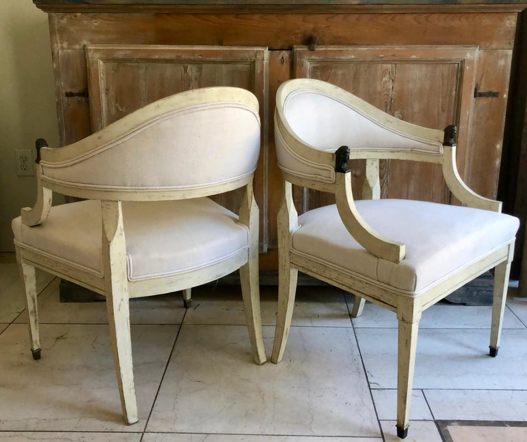 Hand-Carved Pair of Swedish Barrel Back Chairs, Sweden, circa 1890 For Sale