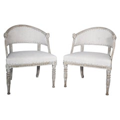Pair of Swedish Barrel Back Chairs with European Burlap, Origin Sweden