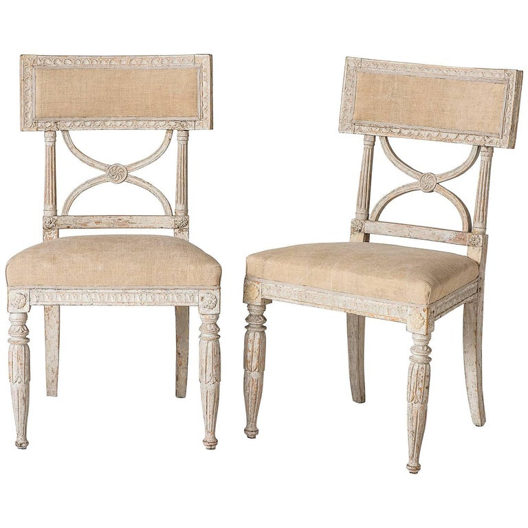 """Pair of Swedish """"Bellman"""" Side Chairs, circa 1800 For Sale"""