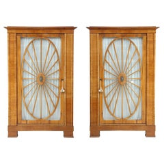 Pair of Swedish Biedermeier Fruitwood Cabinets