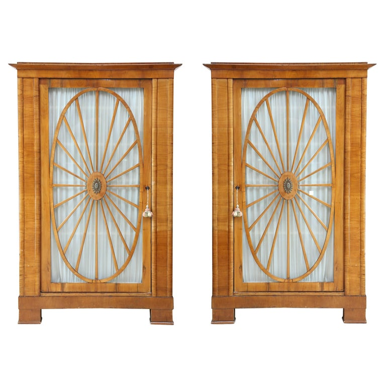 Pair of Swedish Biedermeier Fruitwood Cabinets For Sale