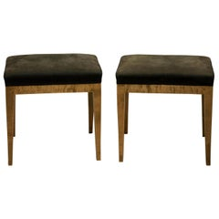 Pair of Swedish Biedermeier Karewan Birch Stools, circa 1880