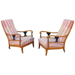 Pair of Swedish Biedermeier Revival Armchairs in Golden Birch, circa 1910