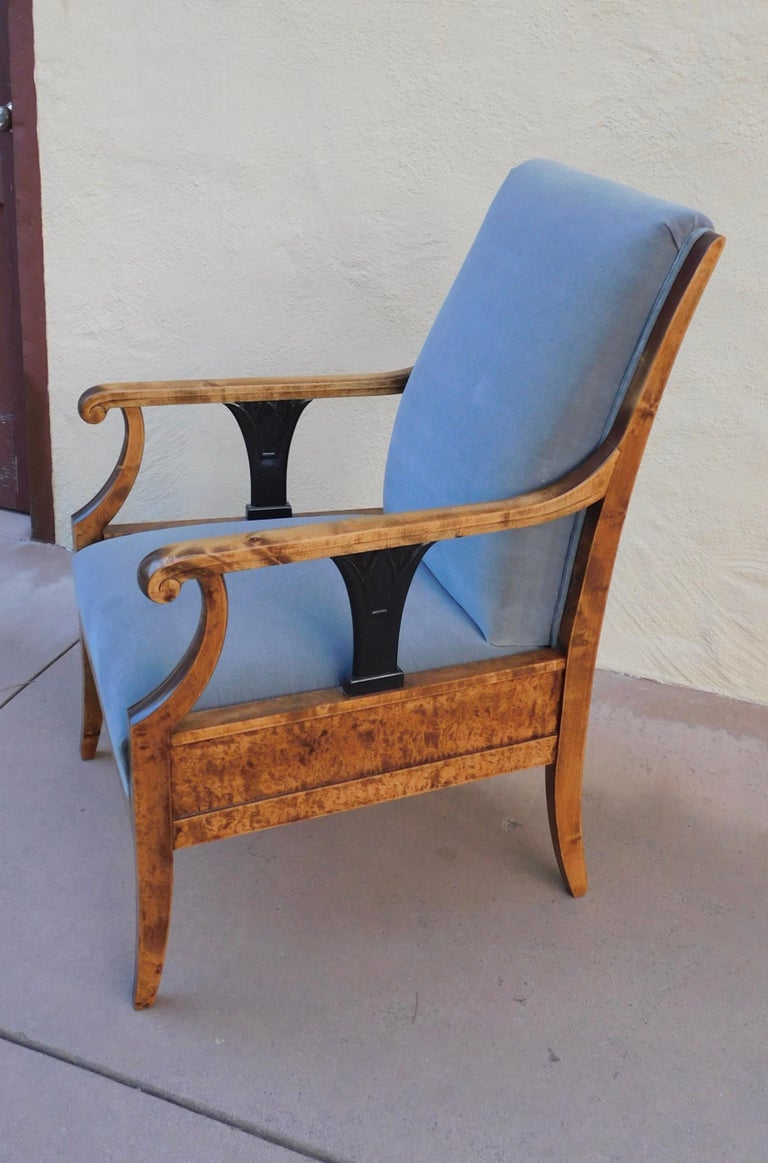 Pair of Swedish Biedermeier Revival Armchairs in Golden Flame Birch, circa 1920 For Sale 4