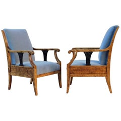 Pair of Swedish Biedermeier Revival Armchairs in Golden Flame Birch, circa 1920