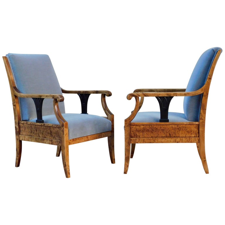 Pair of Swedish Biedermeier Revival Armchairs in Golden Flame Birch, circa 1920 For Sale