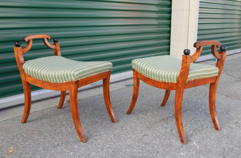 Pair of Swedish Biedermeier Revival Benches or Foot Stools, 1920s For Sale 5