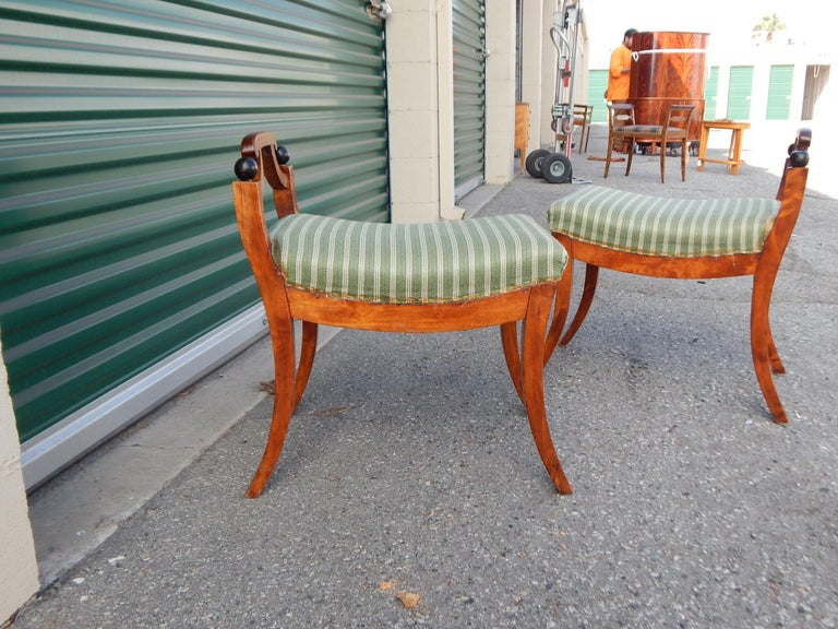 Pair of Swedish Biedermeier Revival Benches or Foot Stools, 1920s For Sale 6