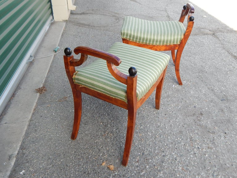 Pair of Swedish Biedermeier Revival Benches or Foot Stools, 1920s For Sale 7