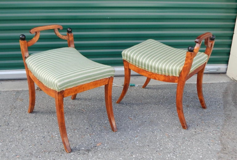 Pair of Swedish Biedermeier Revival Benches or Foot Stools, 1920s In Good Condition For Sale In Richmond, VA