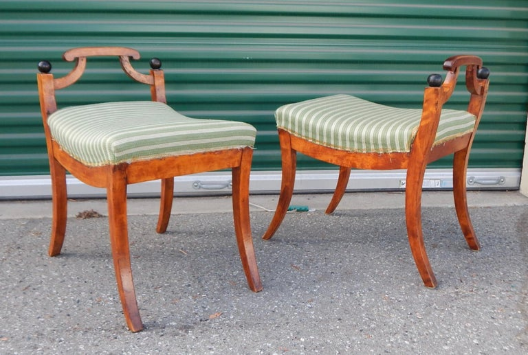 Early 20th Century Pair of Swedish Biedermeier Revival Benches or Foot Stools, 1920s For Sale