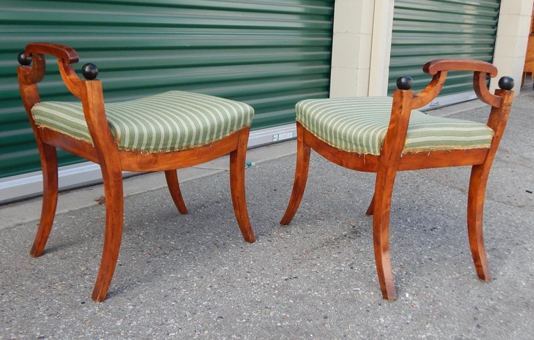 Pair of Swedish Biedermeier Revival Benches or Foot Stools, 1920s For Sale 1