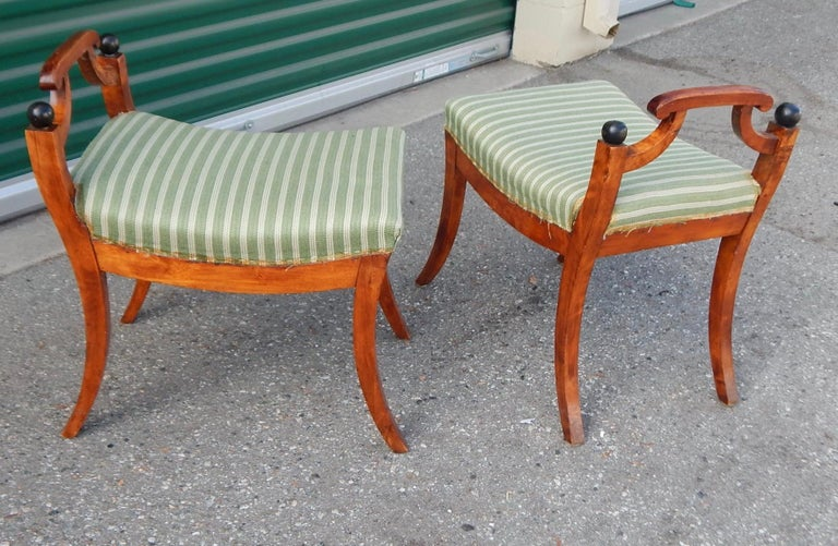 Pair of Swedish Biedermeier Revival Benches or Foot Stools, 1920s For Sale 2