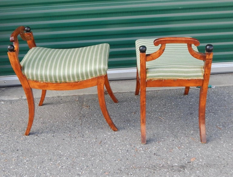 Pair of Swedish Biedermeier Revival Benches or Foot Stools, 1920s For Sale 3