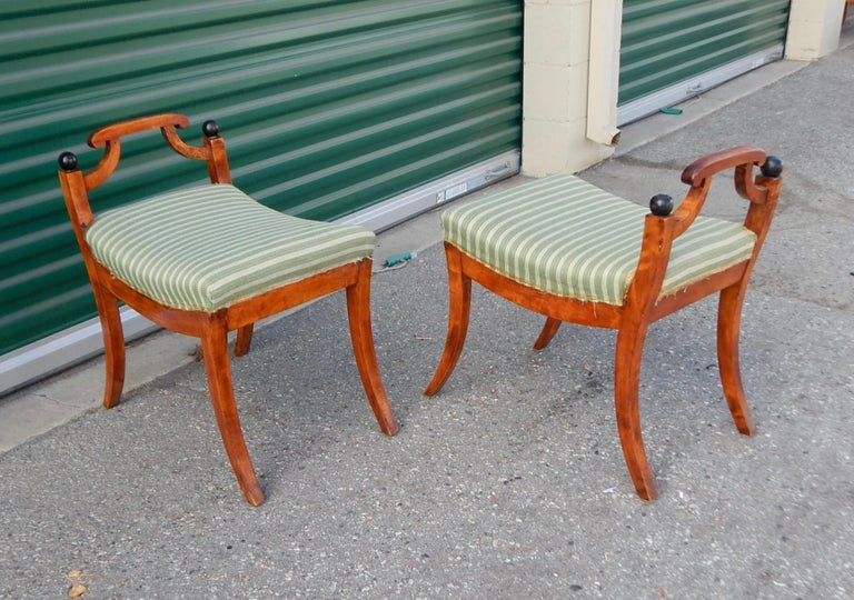 Pair of Swedish Biedermeier Revival Benches or Foot Stools, 1920s For Sale 4