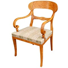 Pair of Swedish Biedermeier Revival Captains Chairs in Golden Flame Birch 1920s