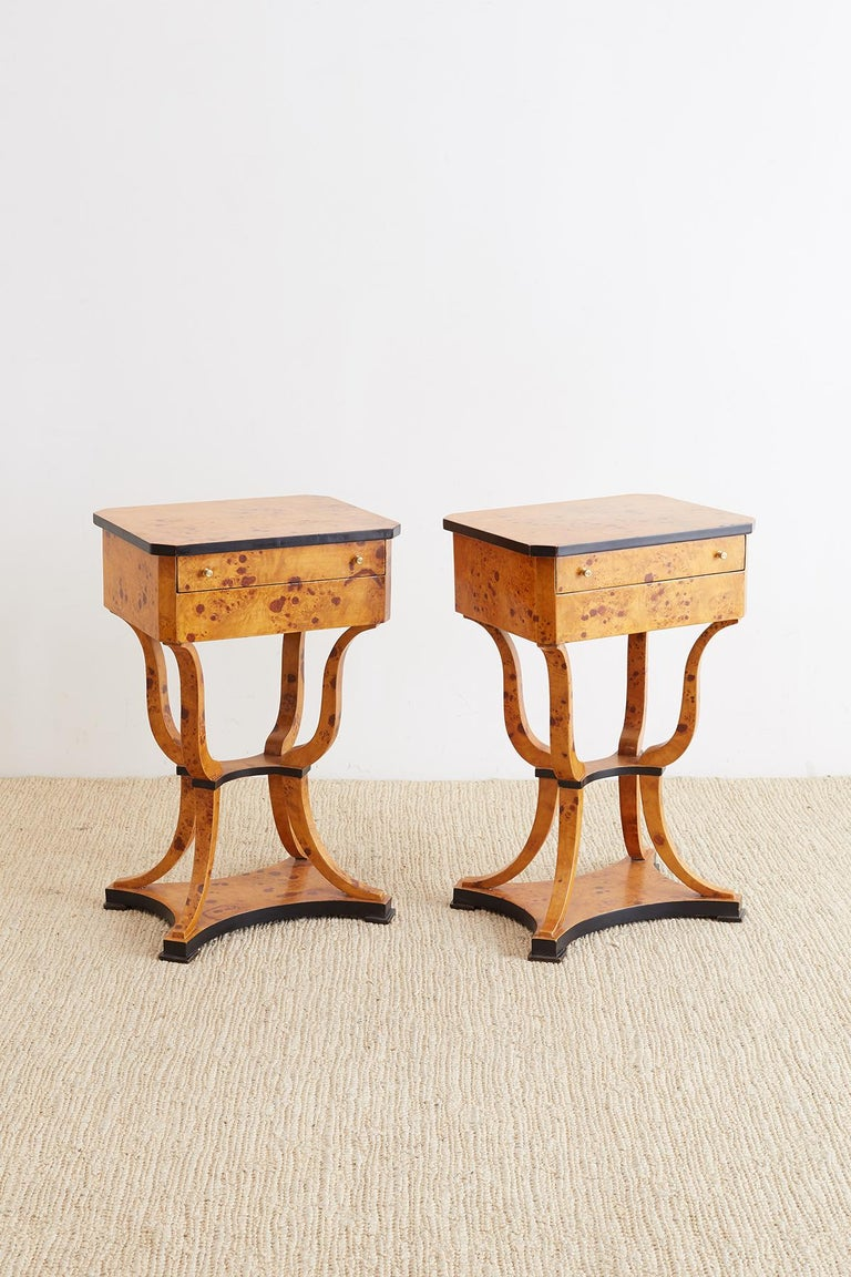 Pair of Swedish Biedermeier Style Sewing Table or Nightstands In Good Condition For Sale In Oakland, CA