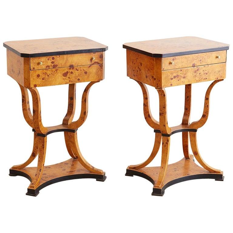 Pair of Swedish Biedermeier Sewing Table or Nightstands For Sale
