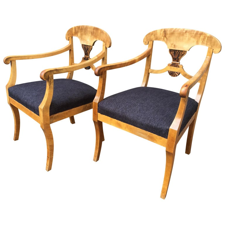 Pair of Swedish Birchwood Art Deco Armchairs, Circa 1920s ...