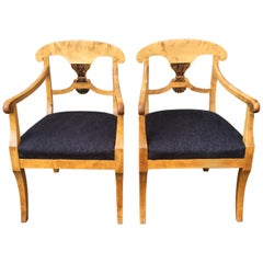 Pair of Swedish Birchwood Art Deco Armchairs, Circa 1920s
