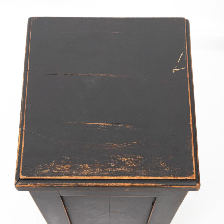 Pair of Swedish Black Painted Bedside Cabinets For Sale 4