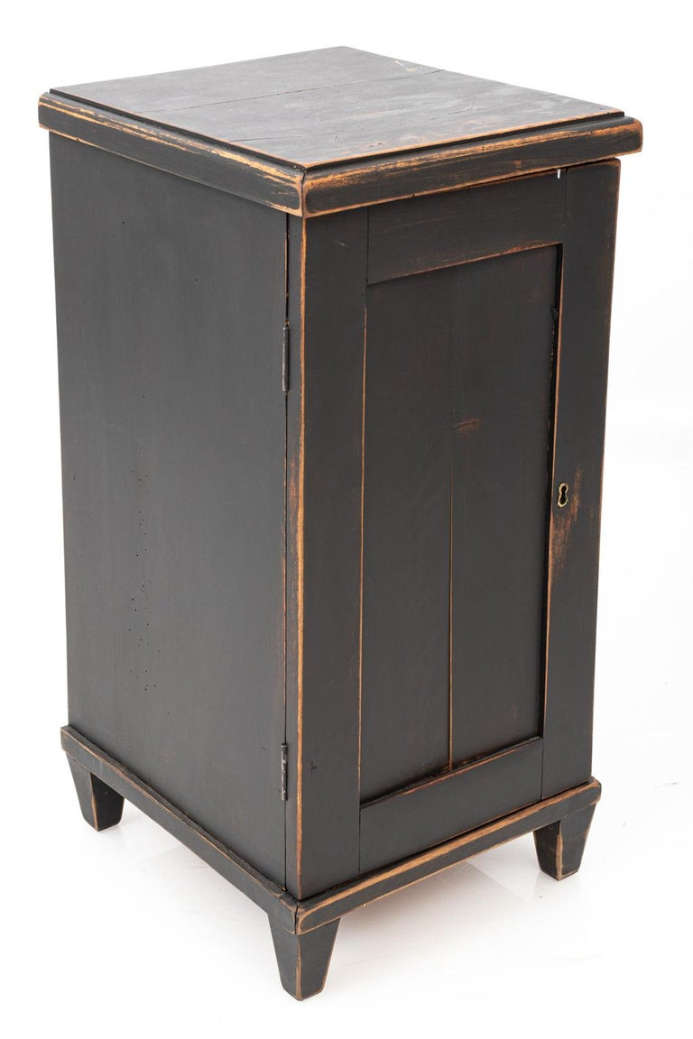 Wood Pair of Swedish Black Painted Bedside Cabinets For Sale