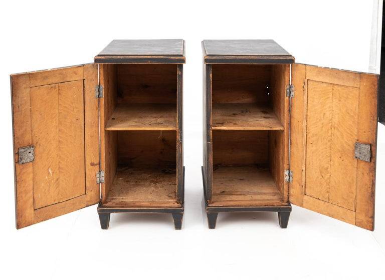 Pair of Swedish Black Painted Bedside Cabinets For Sale 2