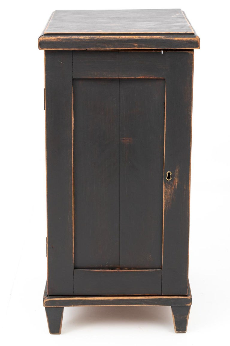 Pair of Swedish Black Painted Bedside Cabinets For Sale 3