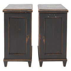 Pair of Swedish Black Painted Bedside Cabinets