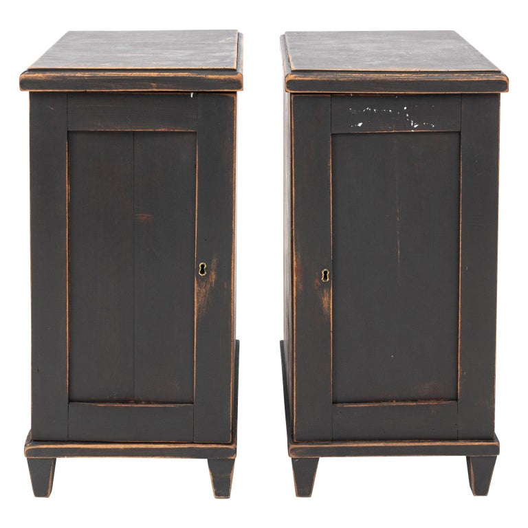 Pair of Swedish Black Painted Bedside Cabinets For Sale