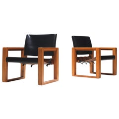 Pair of Swedish Black Saddle Leather Safari Armchairs, 1970s