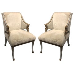 Pair of Swedish Blue Painted and Silver Gilt Armchairs