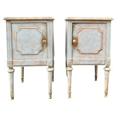 Pair of Swedish Blue Painted Gustavian Nightstands