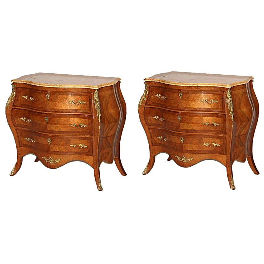 Pair of Swedish Bombe Commodes, 19th Century