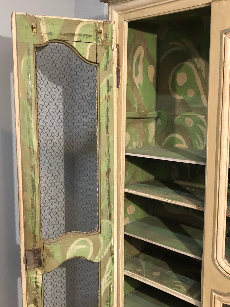 Pair of Continental Bookcase Cabinets Original Paint Decorated For Sale 6