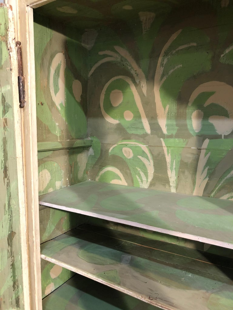 Pair of Continental Bookcase Cabinets Original Paint Decorated For Sale 9