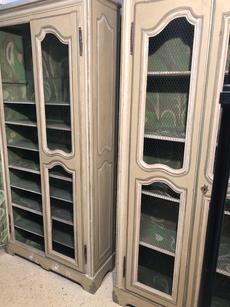 French Pair of Continental Bookcase Cabinets Original Paint Decorated For Sale
