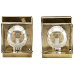 Pair of Swedish Brass and Glass Wall Sconces by Pukeberg