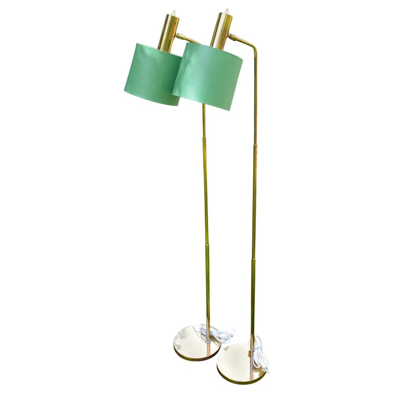 Pair of Swedish Brass Floor Lamps marked Bergboms G-03 For Sale