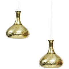 Pair of Swedish Brass Pendant Lamps, 1960s