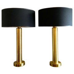 Pair of Swedish Brass Table Lamps by K. Belysning, 1970