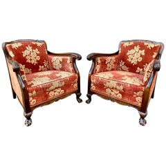 Pair of Swedish Chesterfield Armchairs in Birch