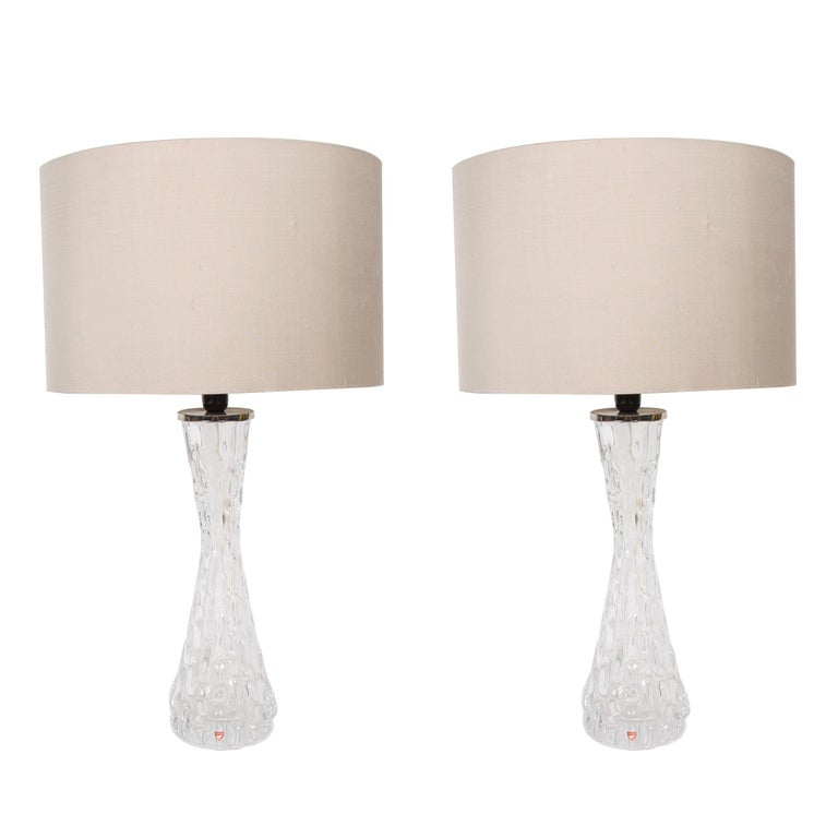 Pair of Swedish Clear Orrefors Lamps For Sale