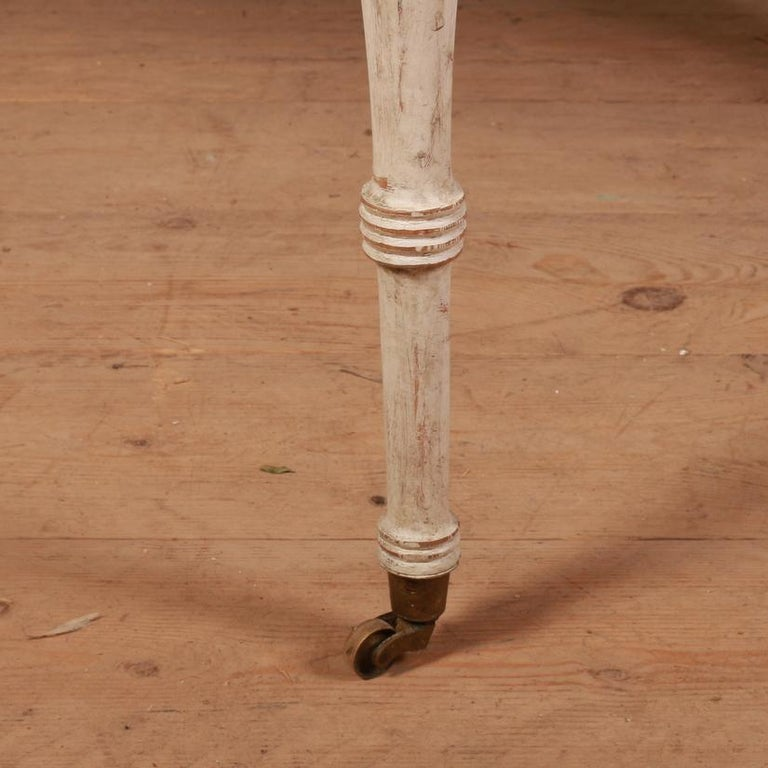Hand-Painted Pair of Swedish Demilune Console Tables For Sale