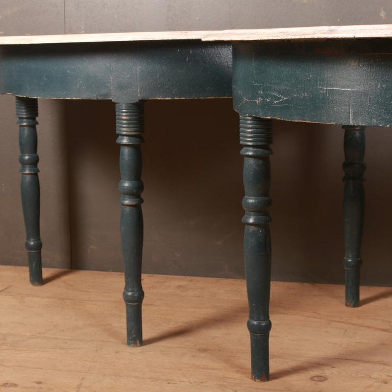Painted Pair of Swedish Demilune Console Tables For Sale