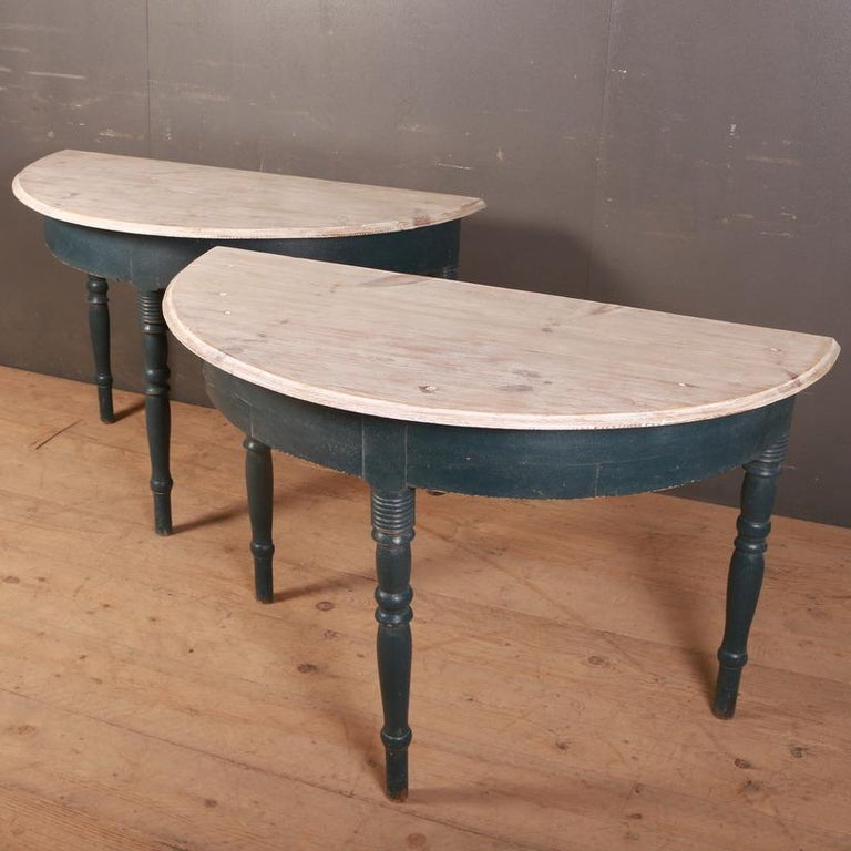 Pair of Swedish Demilune Console Tables In Good Condition For Sale In Leamington Spa, Warwickshire