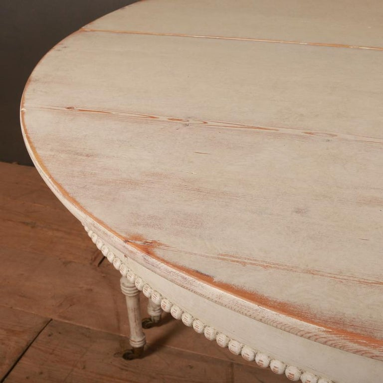 19th Century Pair of Swedish Demilune Console Tables For Sale