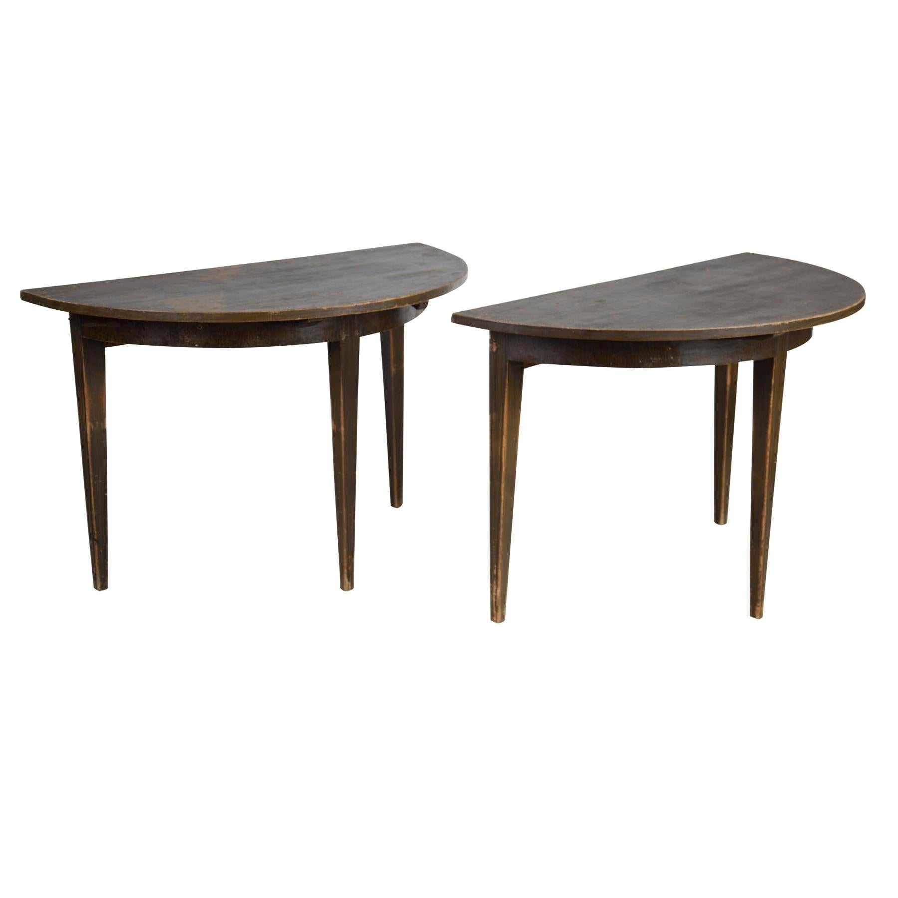 Pair of Swedish Demilune Tables