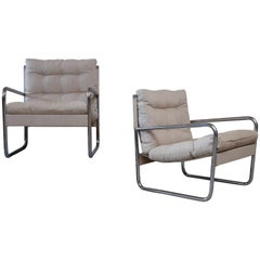 Pair of Swedish Easy Chairs, Canvas and Steel, 1970s