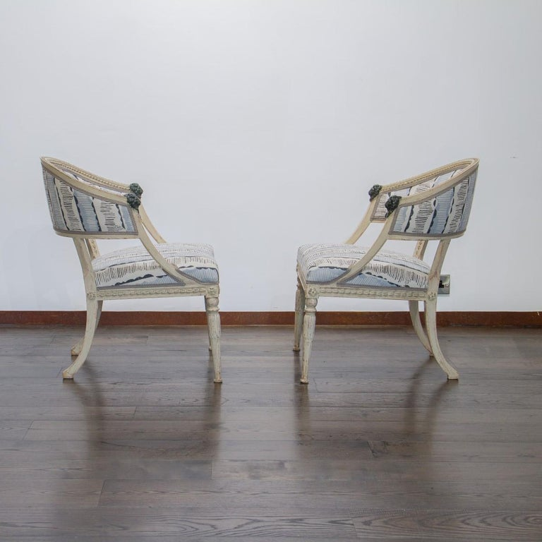 Pair of Swedish Empire Chairs, circa 1800 For Sale 1